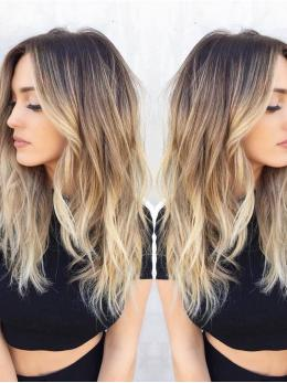 Balayage Ombre Dark Brown to Blonde human wigs- edw2045