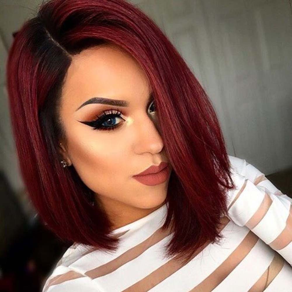 Ombre Red Bob human wigs- edw2048