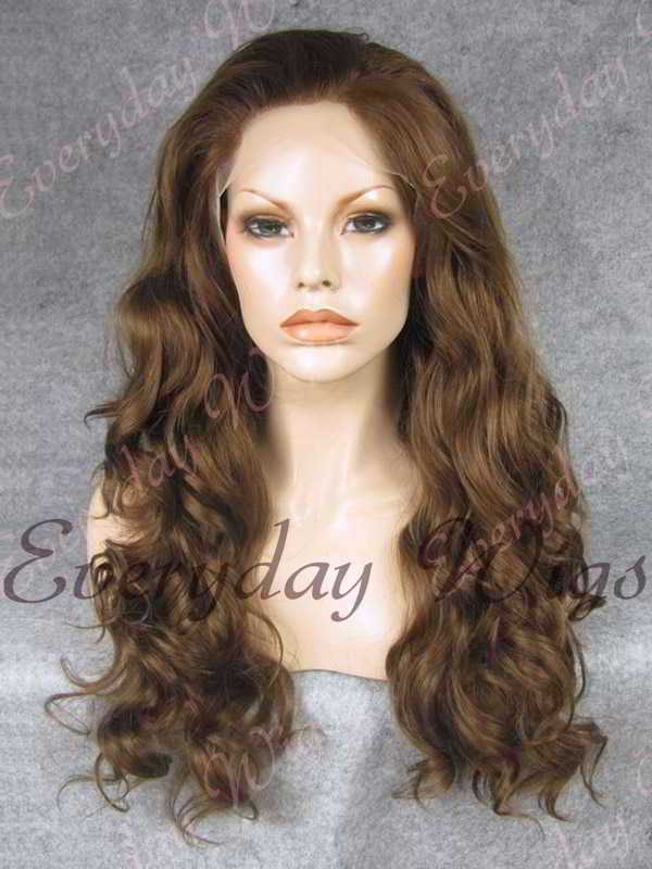 "24"" #2-Darkest Brown Wavy Synthetic Lace Front Wig - edw205"