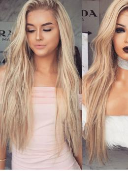 Ombre Blonde long human hair lace wig- edw2055