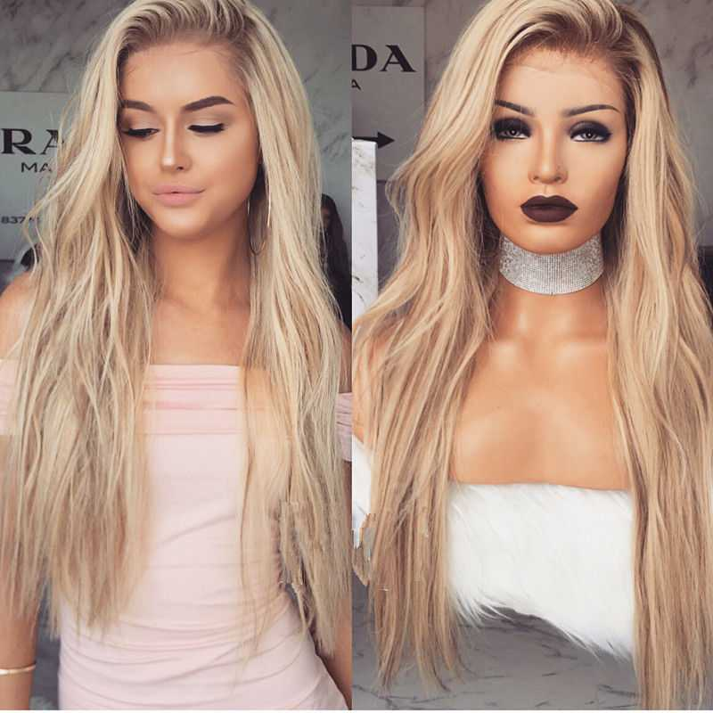 Ombre Blonde Long Human Hair Lace Wig Edw2055