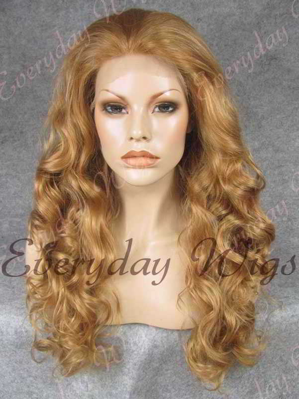 "24"" #16-Dark Honey Blonde Wavy Synthetic Lace Front Wig - edw206"