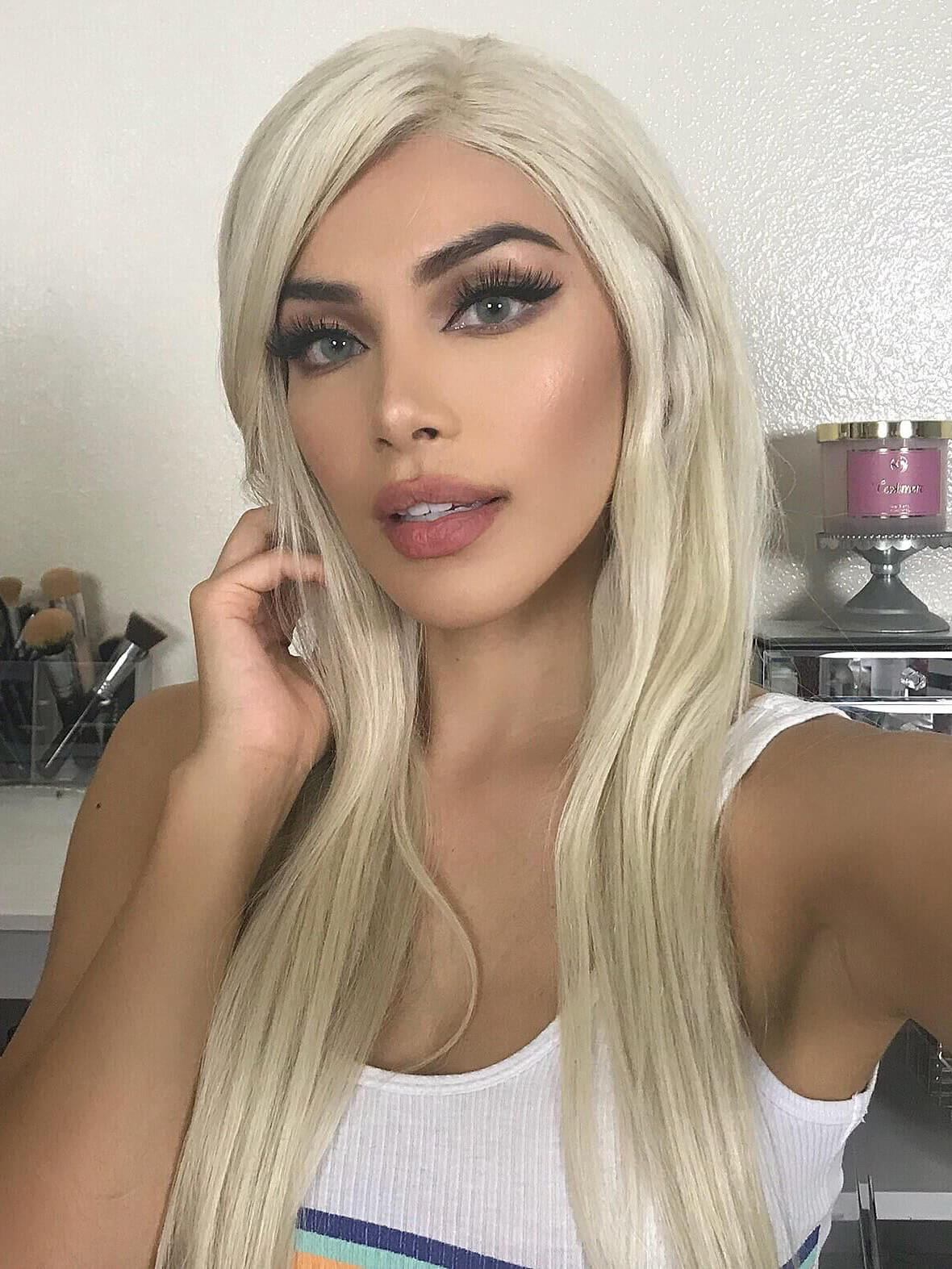 platinum blonde human hair wig- edw2061