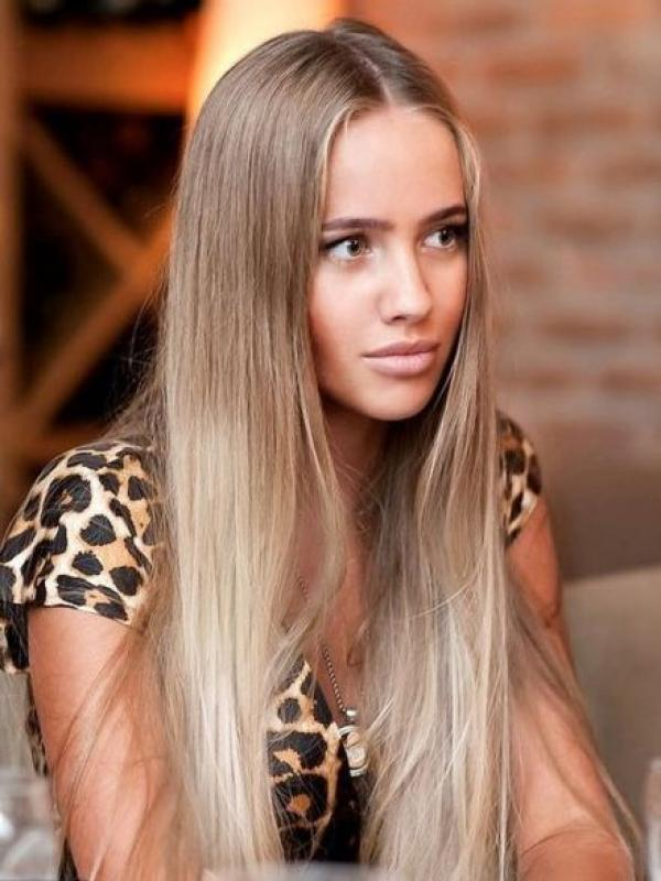 Ombre Blonde Straight human hair lace front wigs- edw2063