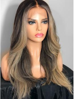 Highlight Ash Blonde human hair lace front wigs- edw2065