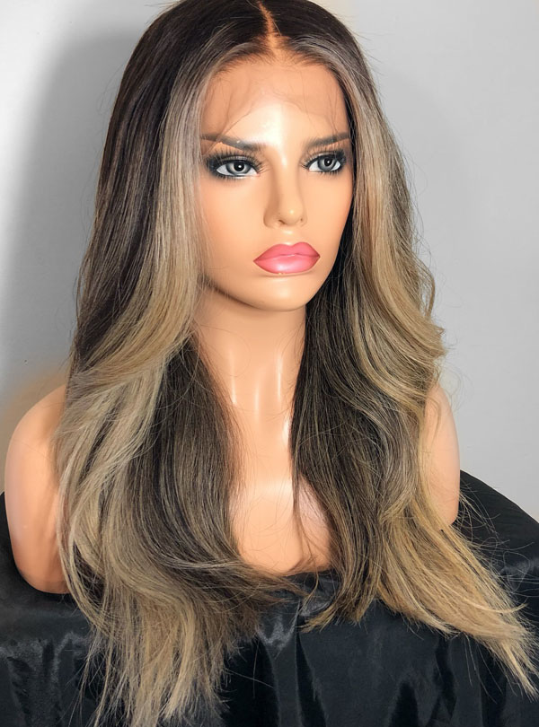 Ombre blonde human hair lace front wigs- edw2065
