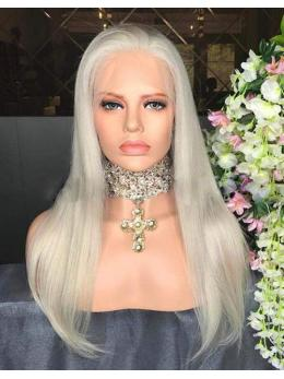 White Blonde Long Human Hair Wig- edw2069