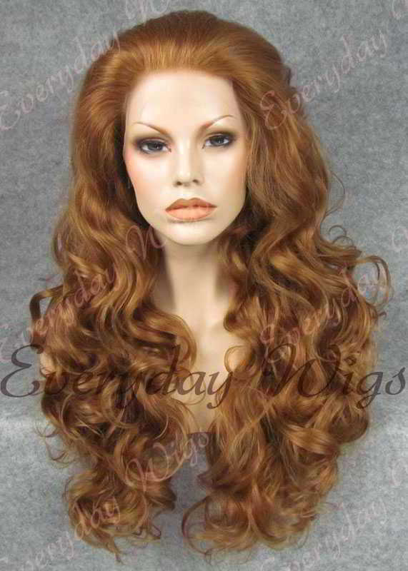 "24"" #6-Chestnut Brown Wavy Synthetic Lace Front Wig - edw207"