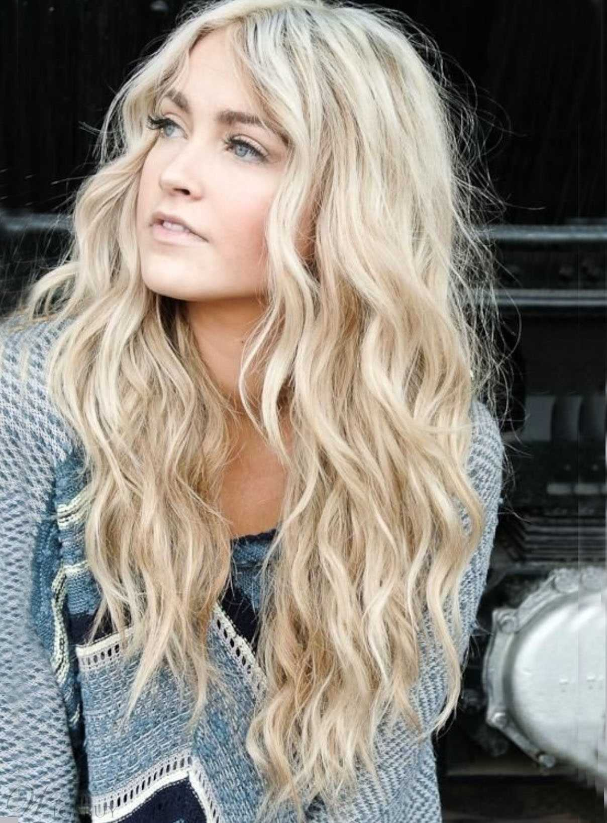 Long Wavy Blonde human hair lace front wigs- edw2076