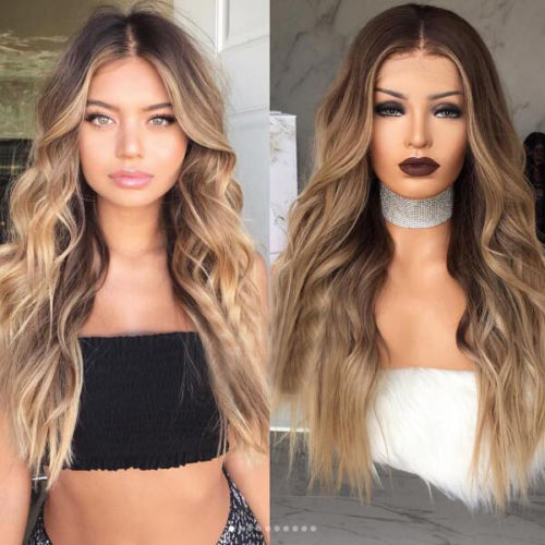 Ombre Blonde Balayage Long Human Hair Wig- edw2078