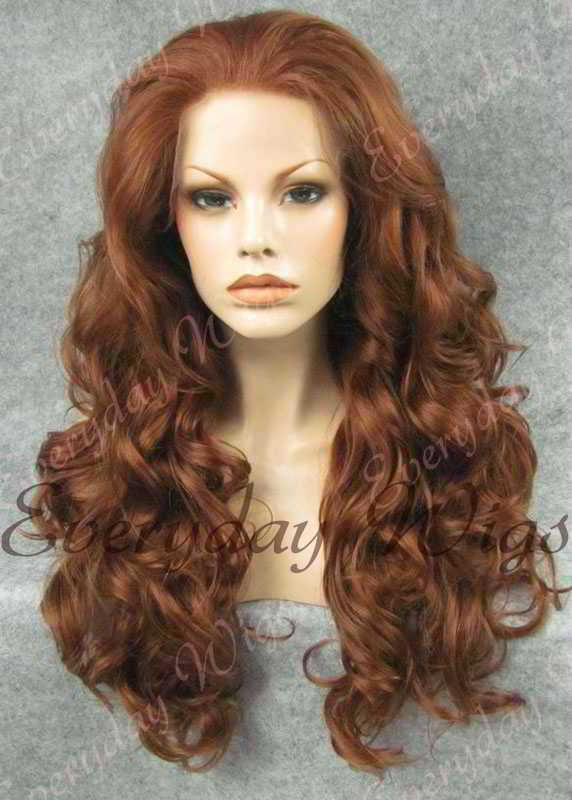 "24"" #4-Medium Reddish Brown Wavy Synthetic Lace Front Wig - edw208"