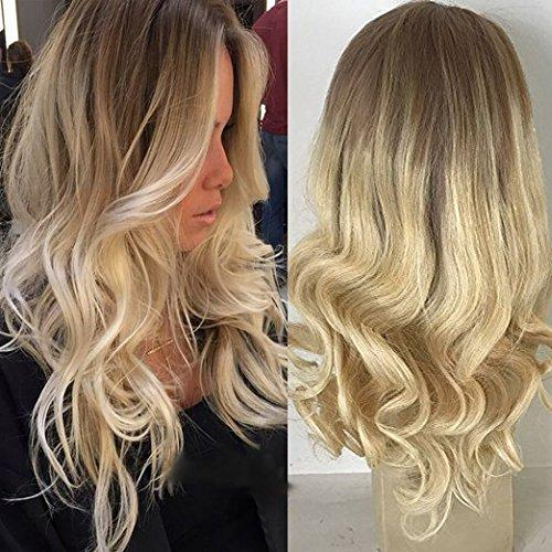 Blonde Ombre Balayage human hair Lace Front Wig - edw2080