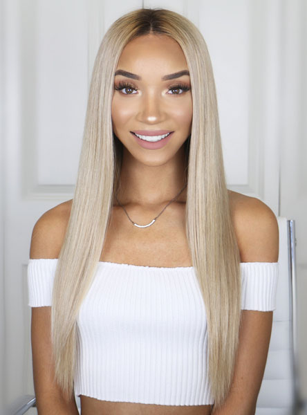 "14"" ombre Blonde Short Human Lace Front Wig - edw2084"