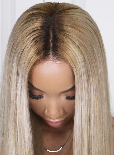 Ombre Blonde Human Lace Front Wig Edw2084