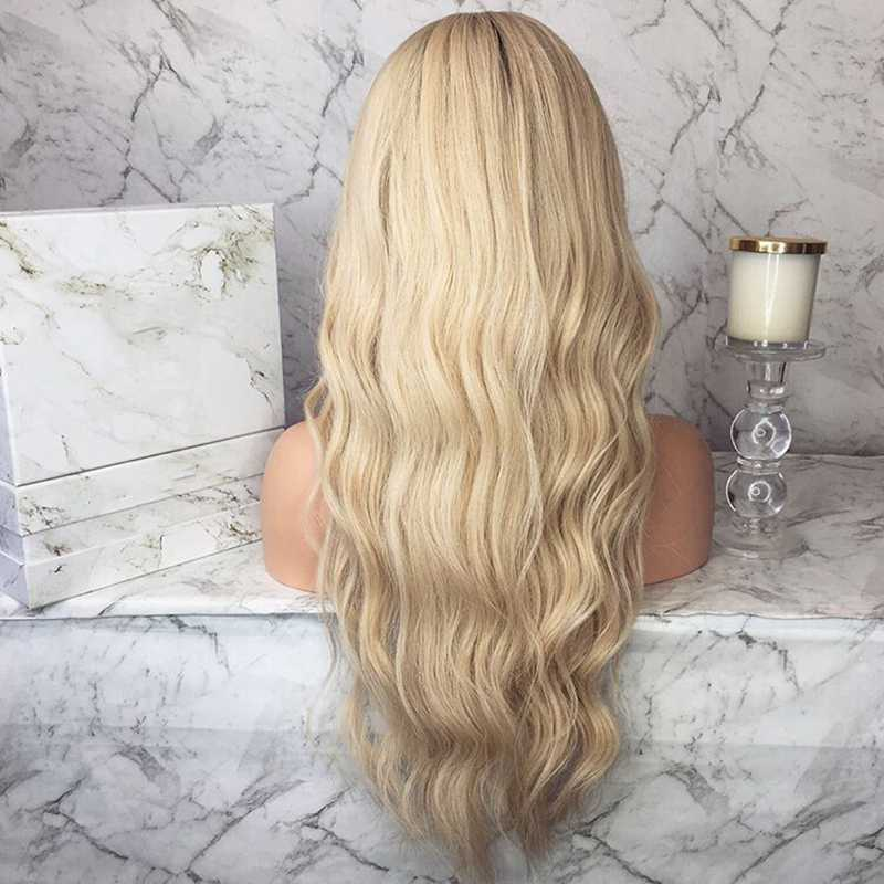 "24"" Ombre Blonde Long Wavy Synthetic Lace Front Wig - edw2085"