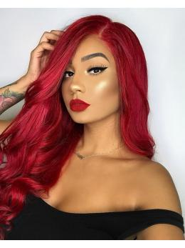 Long Red Wavy Human Lace Front Wig - edw2087