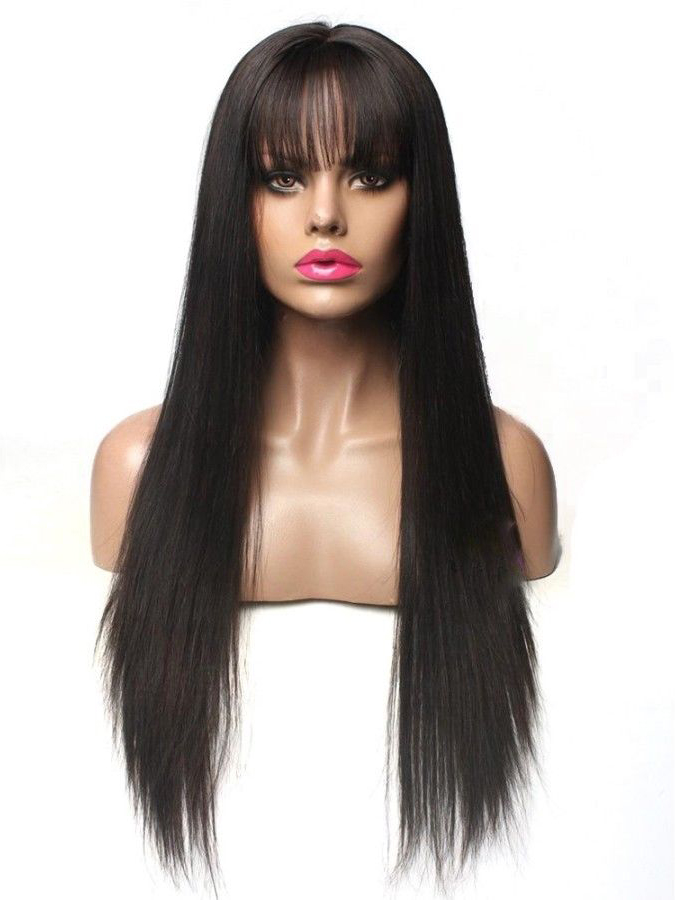Long Straight Human Hair Wig with Bangs - edw2089 - Click Image to Close