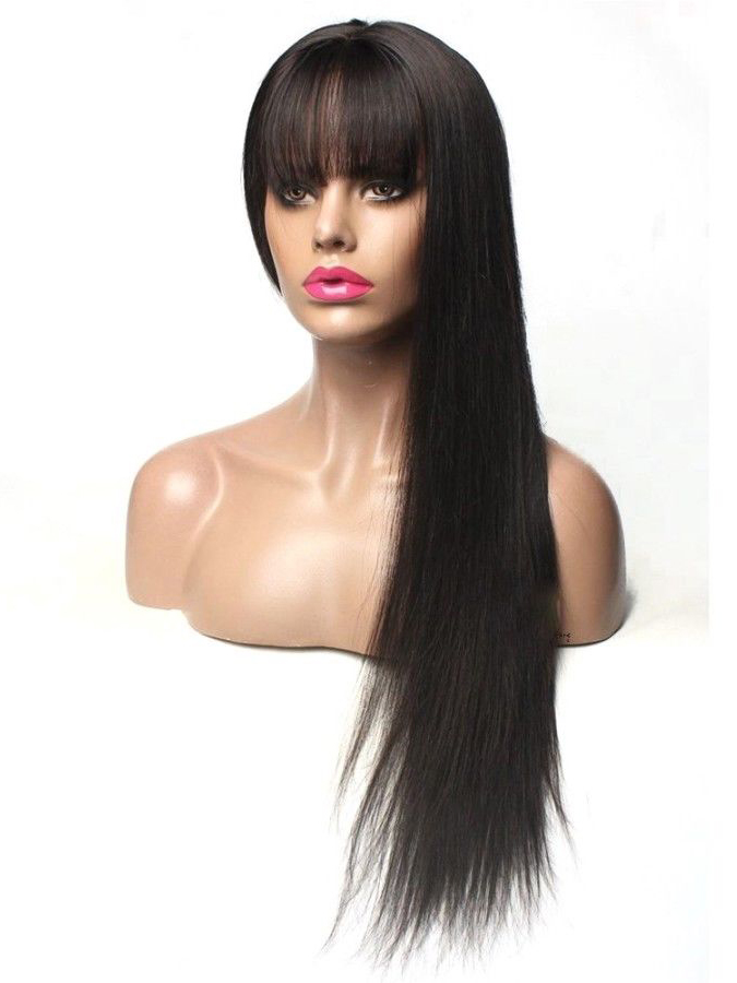 Long Straight Human Hair Wig with Bangs - edw2089