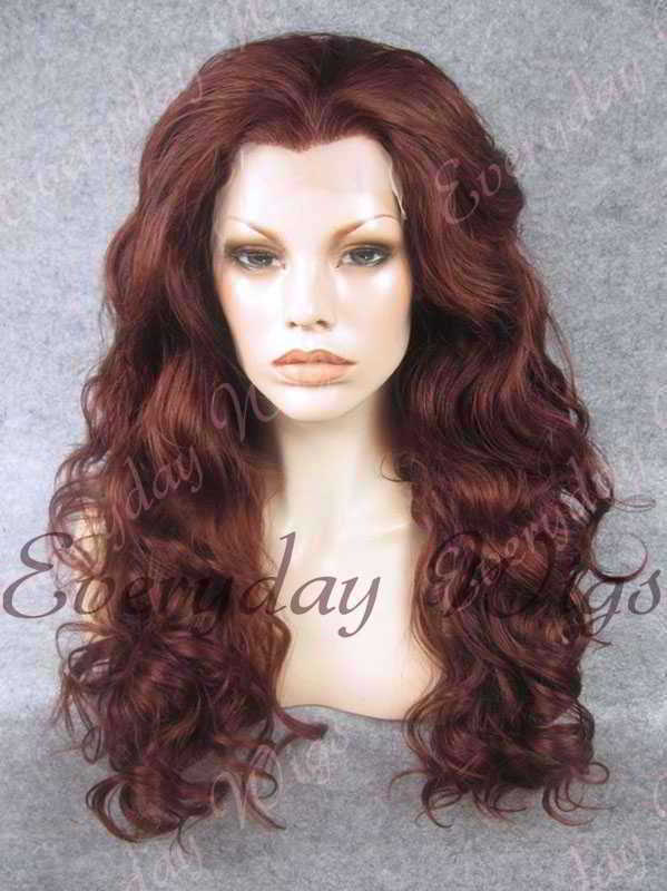 "24"" #99J-Dark Wine Wavy Synthetic Lace Front Wig - edw209"