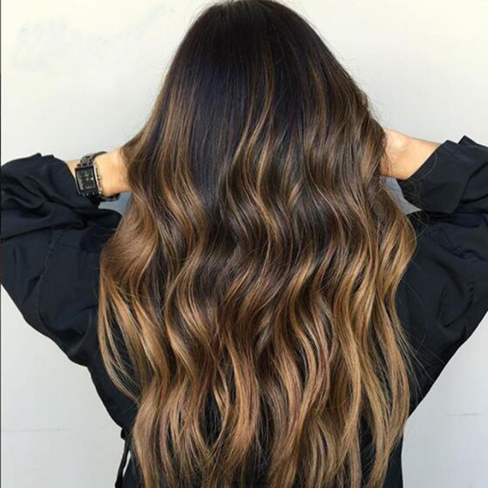 Ombre Highlights Human Hair Hair Wig Edw2091