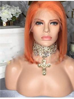 Short Orange Human Hair Wig- edw2098