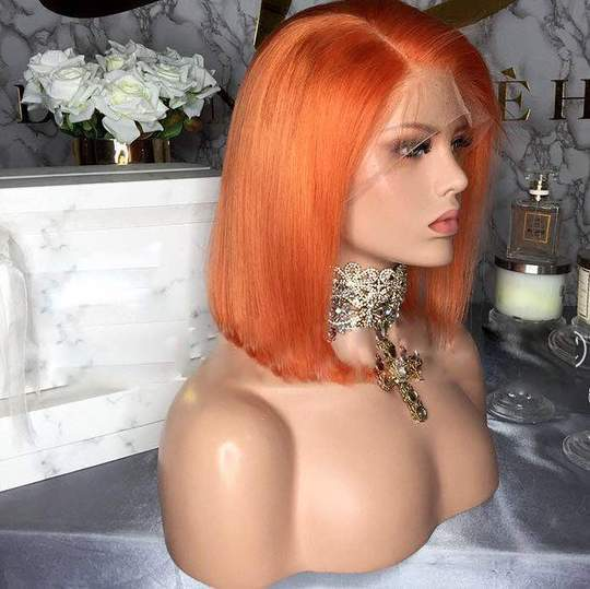 Short orange Human Hair hair wig- edw2098