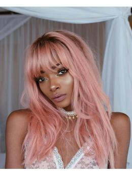 Ombre Pink Human Hair Wig with Bangs- edw2100