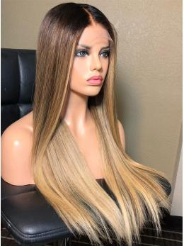 Ombre yellow short Human Hair hair wig- edw2104