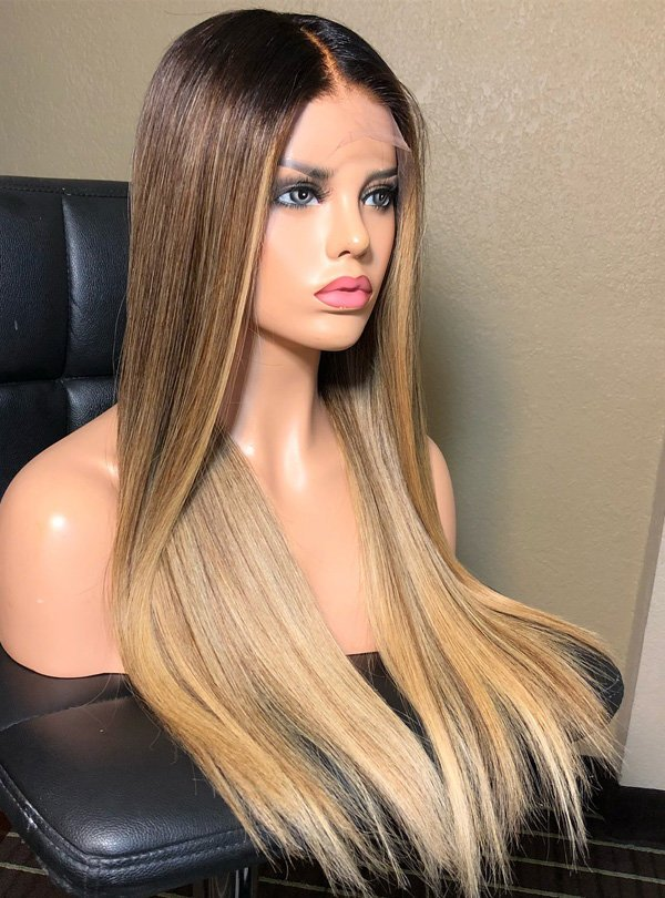 Long Ombre Blonde Human Hair Wig- edw2104