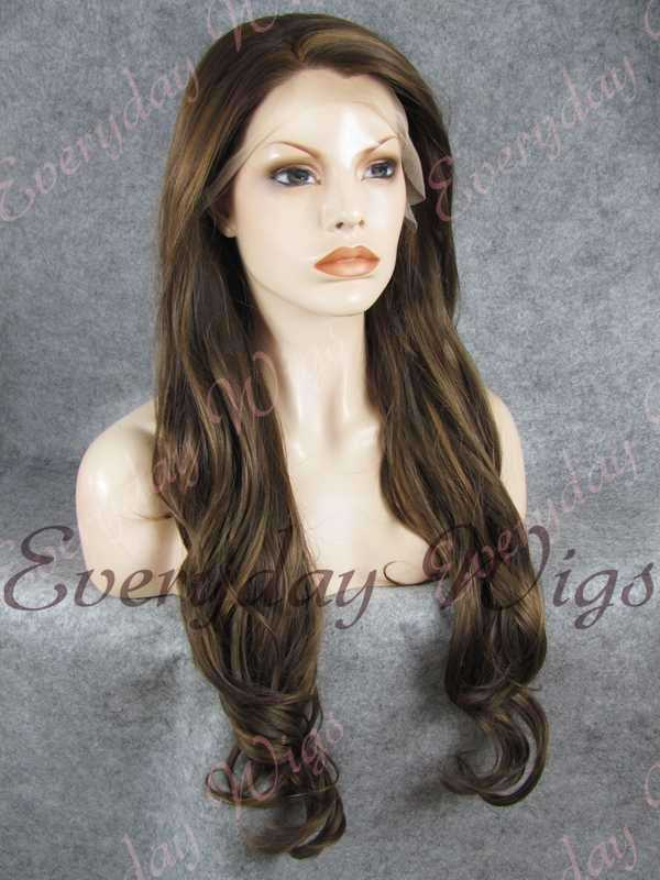 "24"" #8-Medium Ash Brown Wavy Synthetic Lace Front Wig- edw229"