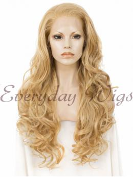 "24"" Long Blonde Wavy Synthetic Lace Front Wig - edw230"