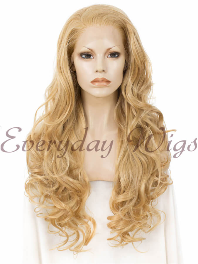 "24"" Long Blonde Wavy Synthetic Lace Front Wig - edw230 - Click Image to Close"