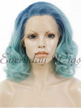 "14"" #Short Ombre blue Wavy Synthetic Lace Front Wig- edw231"
