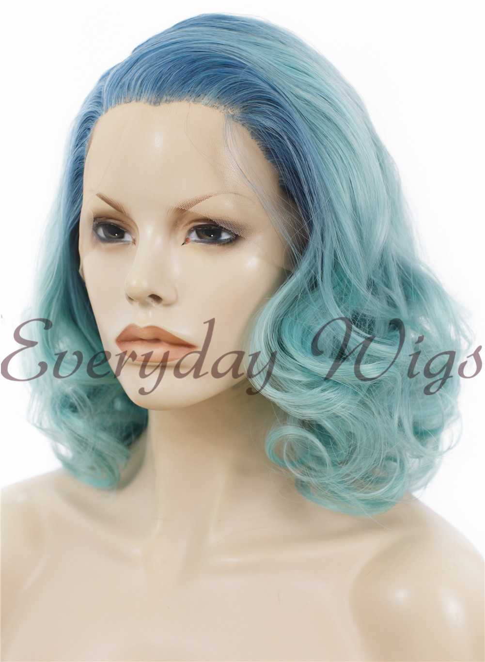 "24"" #1-Jet Black Wavy Synthetic Lace Front Wig- edw231"