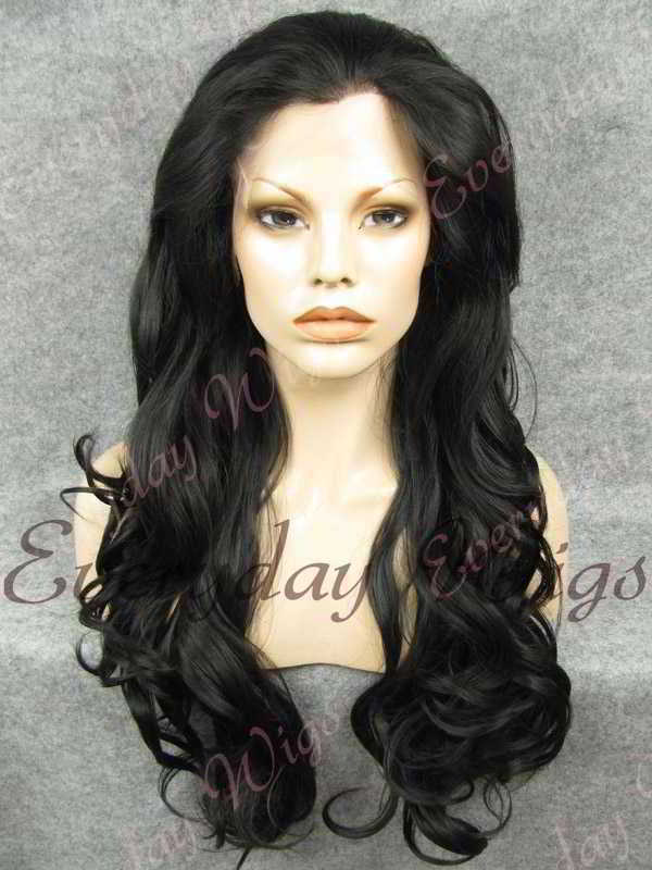 "24"" #1B-Off Black Wavy Synthetic Lace Front Wig- edw232"