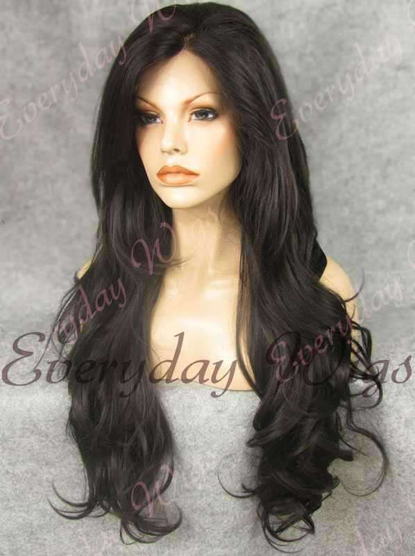 "24"" Natural Black Wavy Synthetic Lace Front Wig- edw233"