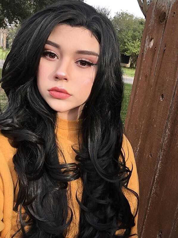 "24"" Black Wavy Synthetic Lace Front Wig- edw235"