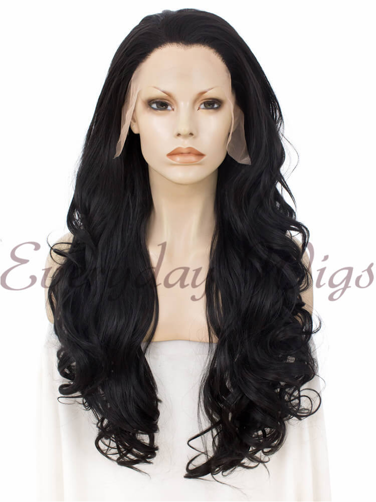 "24"" Natural Black Wavy Synthetic Lace Front Wig- edw235"