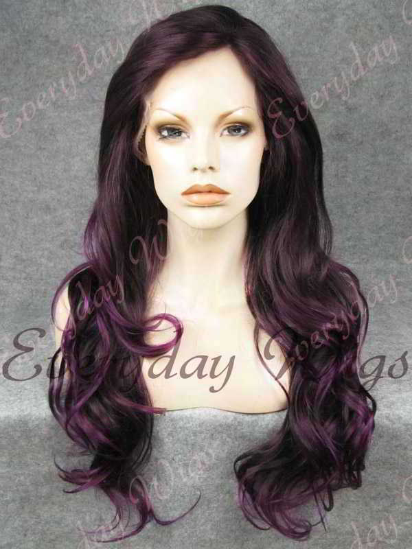 "24"" Purple Mix Color Wavy Synthetic Lace Front Wig- edw236"