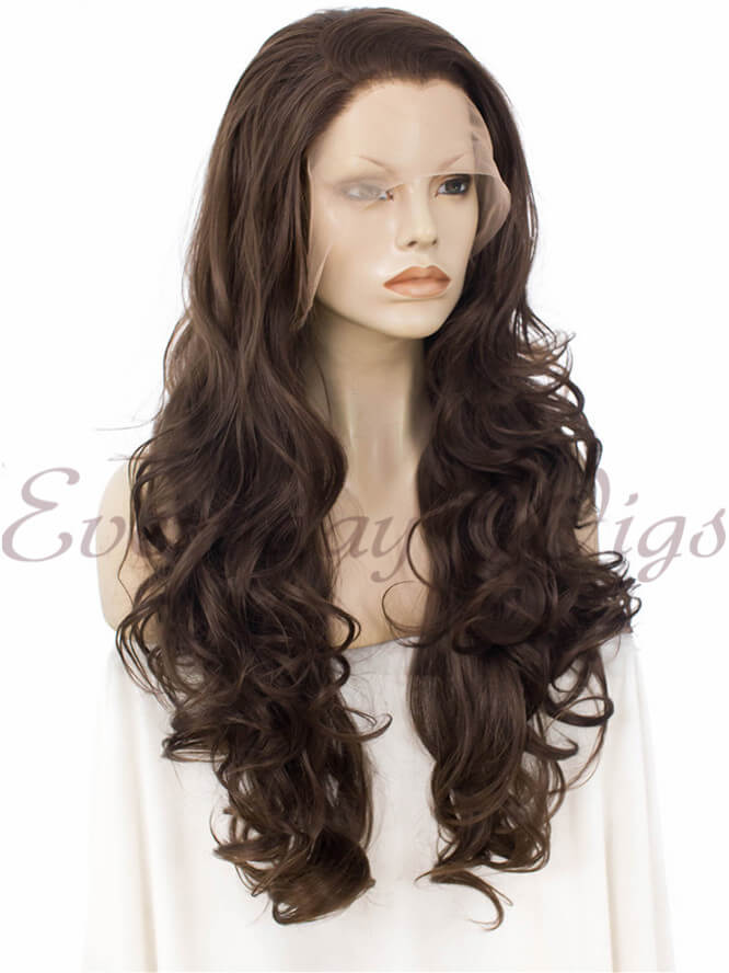 "24"" #2-Darkest Brown Wavy Synthetic Lace Front Wig- edw237"