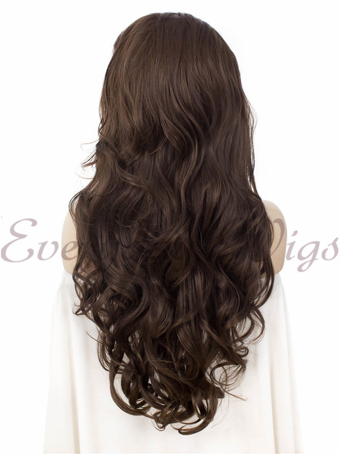 "24""Darkest Brown Wavy Synthetic Lace Front Wig- edw237"