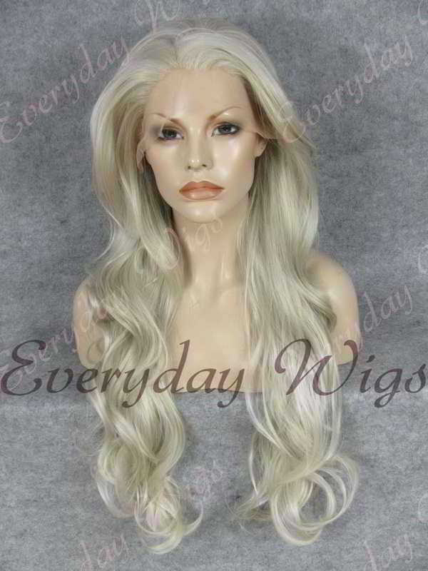 "26"" Grey Mix Wavy Synthetic Lace Front Wig- edw238"