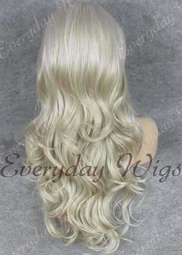 "24"" Grey Mix Off White Wavy Synthetic Lace Front Wig- edw238"