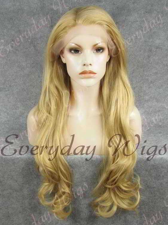"24"" Beige Ash Blonde Wavy Synthetic Lace Front Wig- edw239"