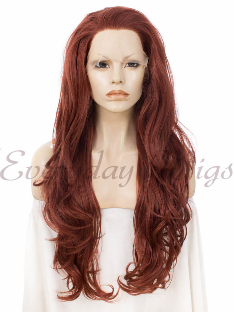 24 auburn wavy synthetic lace front wig edw241