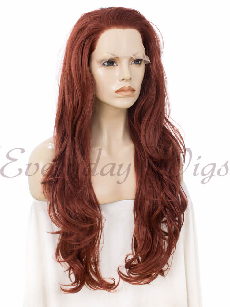 "24"" Auburn Wavy Synthetic Lace Front Wig- edw241"