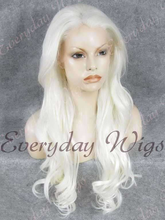 "24"" White Wavy Synthetic Lace Front Wig- edw242"