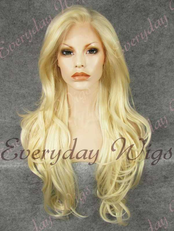 "24"" #613-Platinum Blonde Wavy Synthetic Lace Front Wig- edw243"
