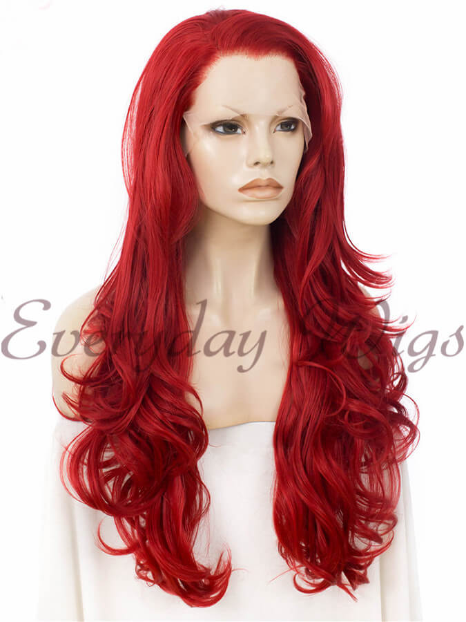 "24"" Red Wavy Synthetic Lace Front Wig- edw244"