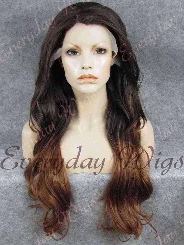 "24"" Brown Ombre Wavy Synthetic Lace Front Wig- edw245"